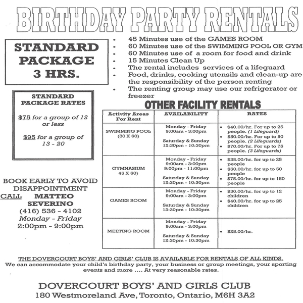 Club Rental Information